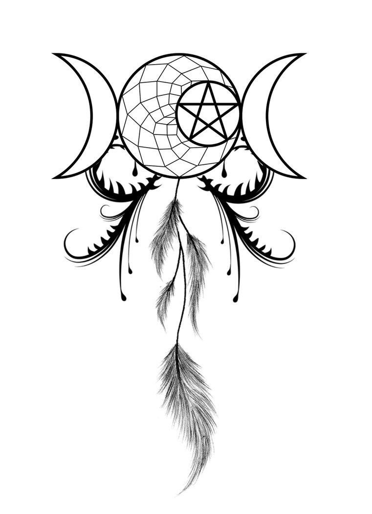 761x1051 Moon Goddess Dreamcatcher Tattoo Design