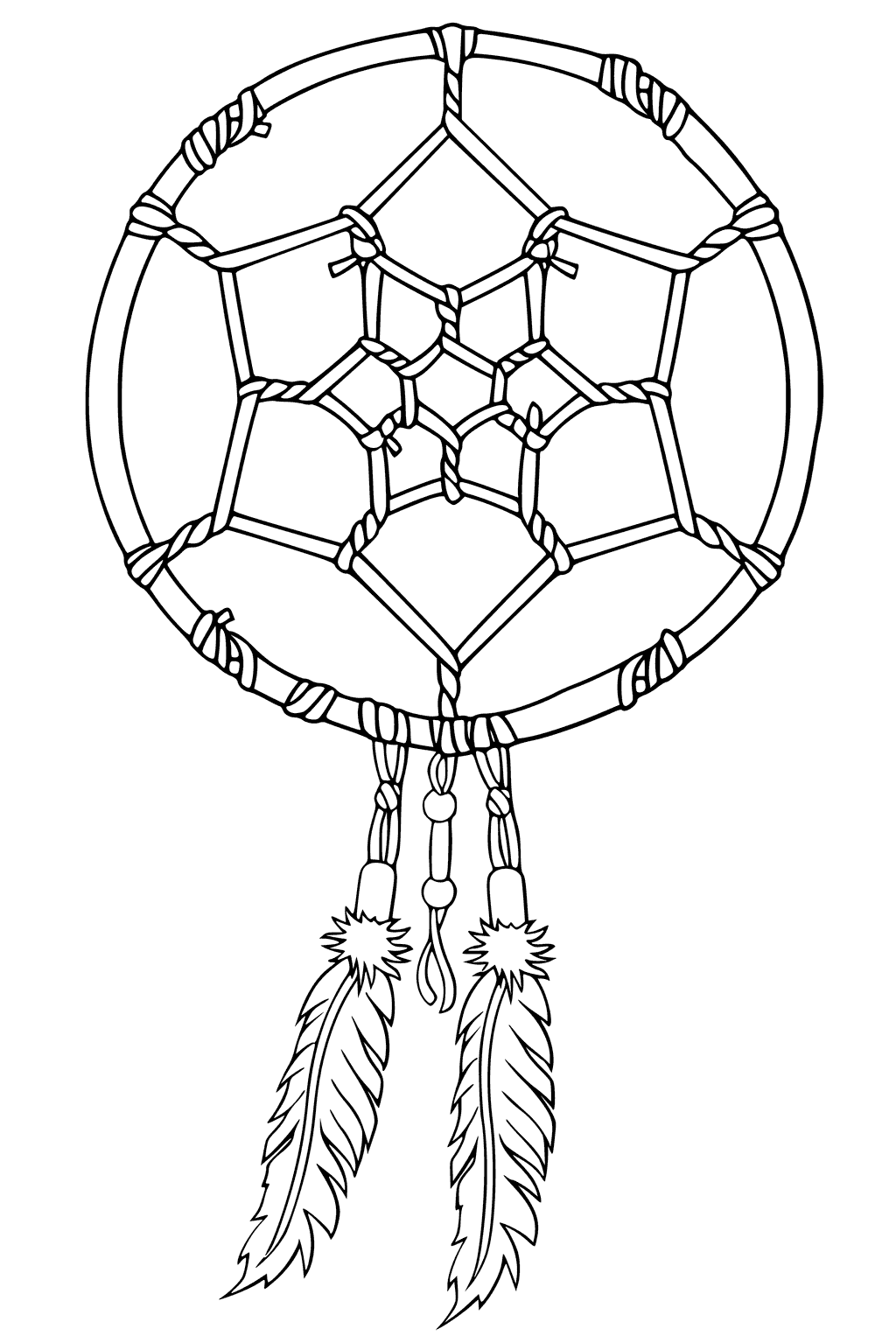 1024x1527 Native American Dreamcatcher Coloring Page
