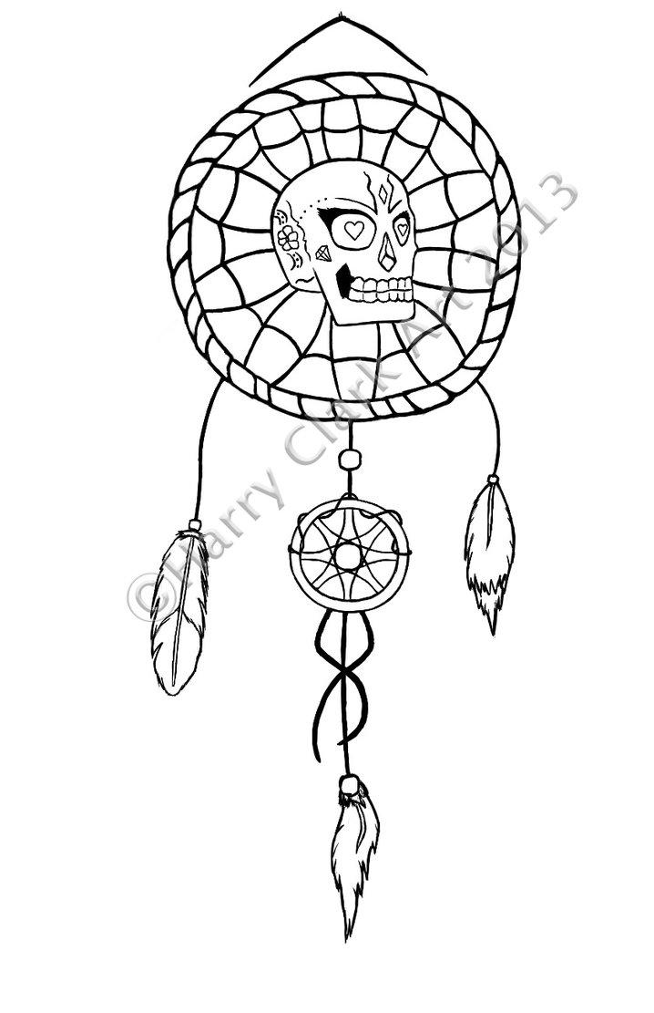 718x1111 Sugar Skull And Dreamcatcher Tattoo By Rj700