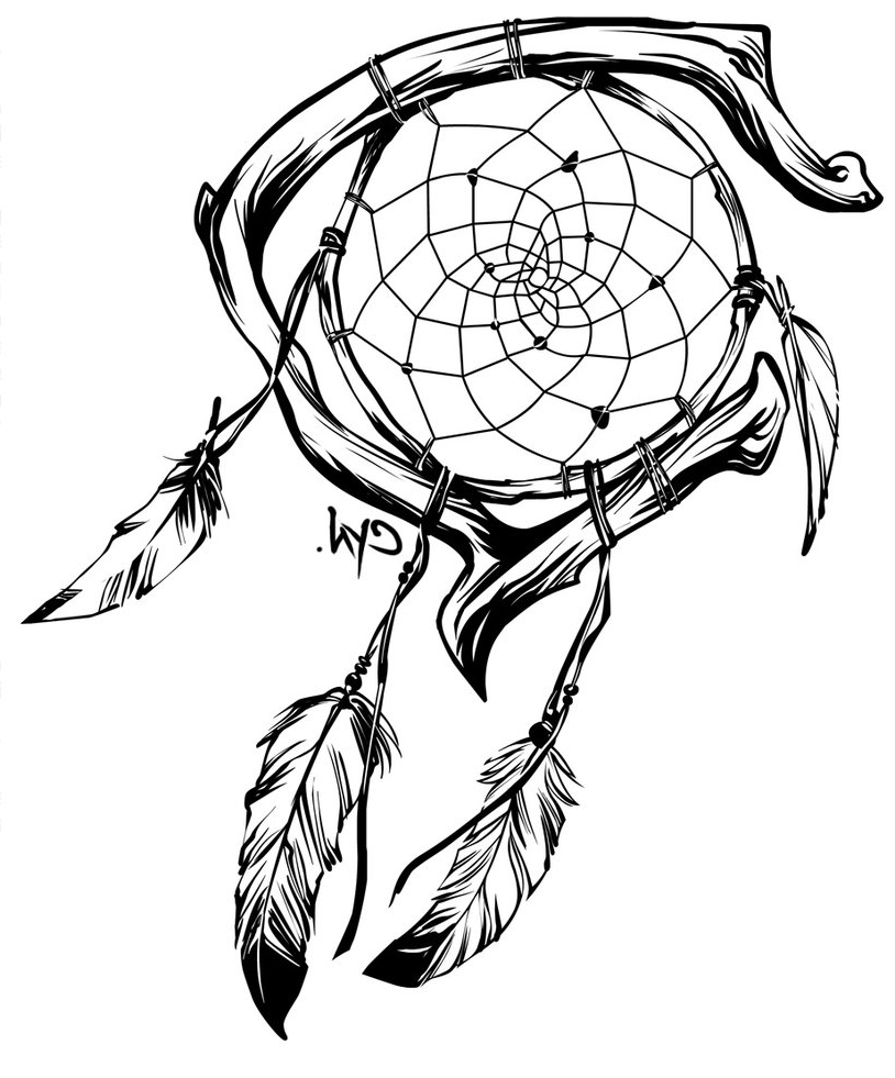 Dreamcatcher tattoo drawing at free for for Dreamcatcher tattoo template