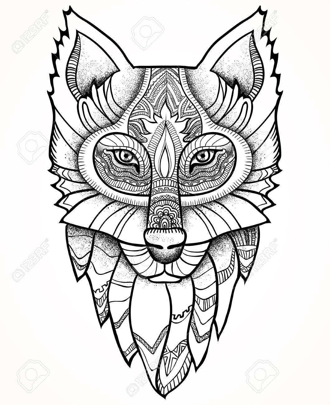 1060x1300 Vector Illustration. Ethnic Totem Wolf And Dreamcatcher. Doodle