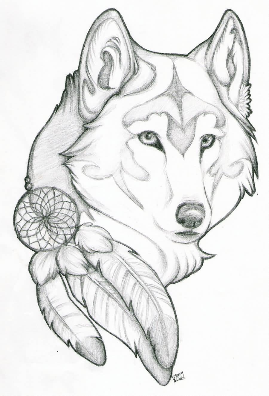 900x1322 Wolf Dreamcatcher Tattoo Design