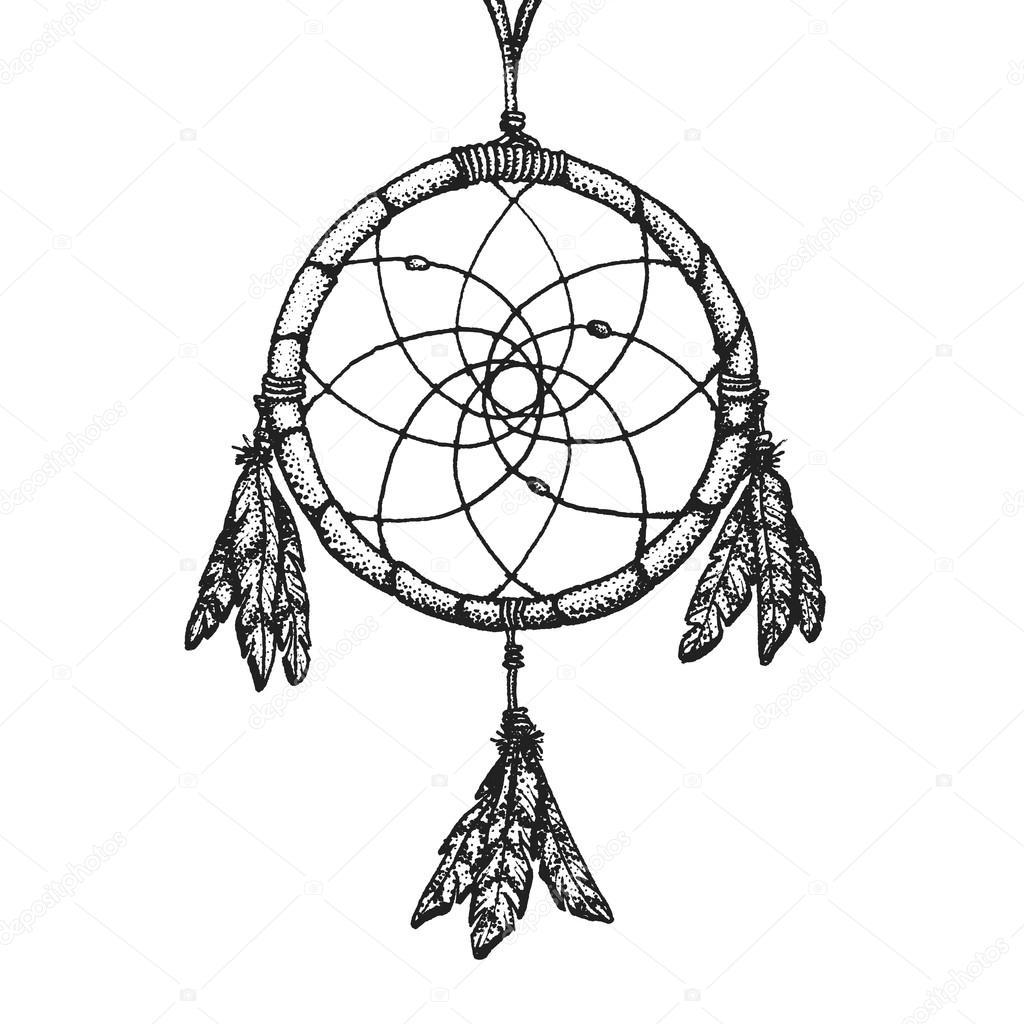 1024x1024 Hand Drawn Indian Dreamcatcher Vintage Illustratio Stock Vector