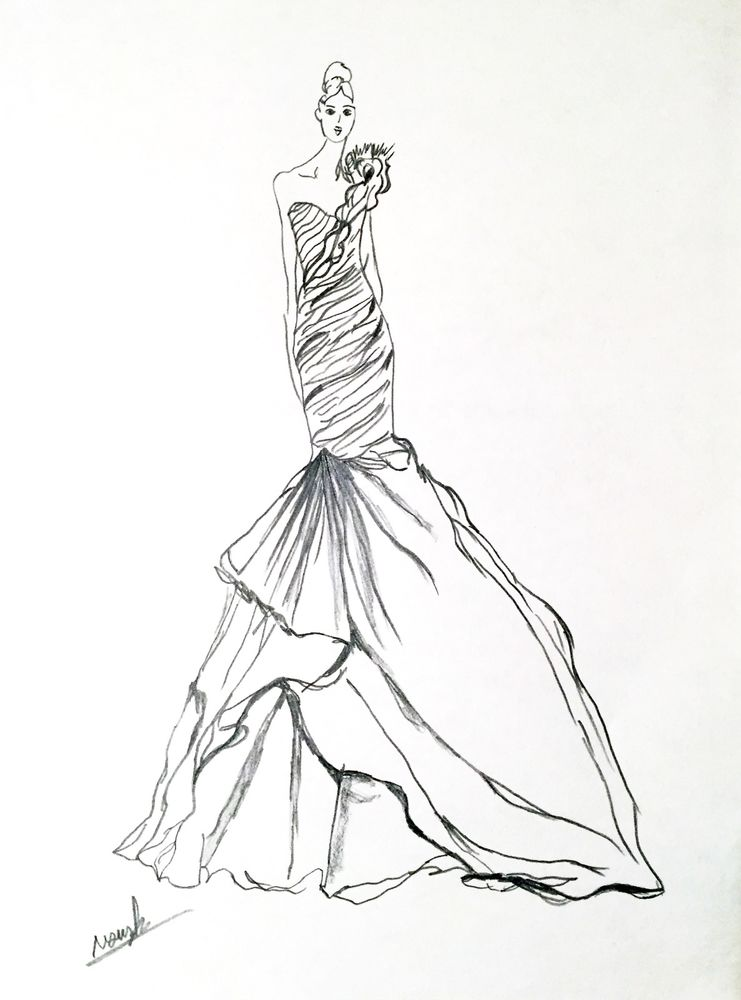 741x1000 Artist Original Fashion Illustration Sketch Pencil Drawing Wedding