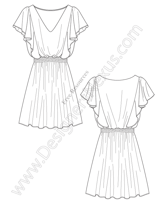612x792 V67 Draped Dress Illustrator Flat Drawing