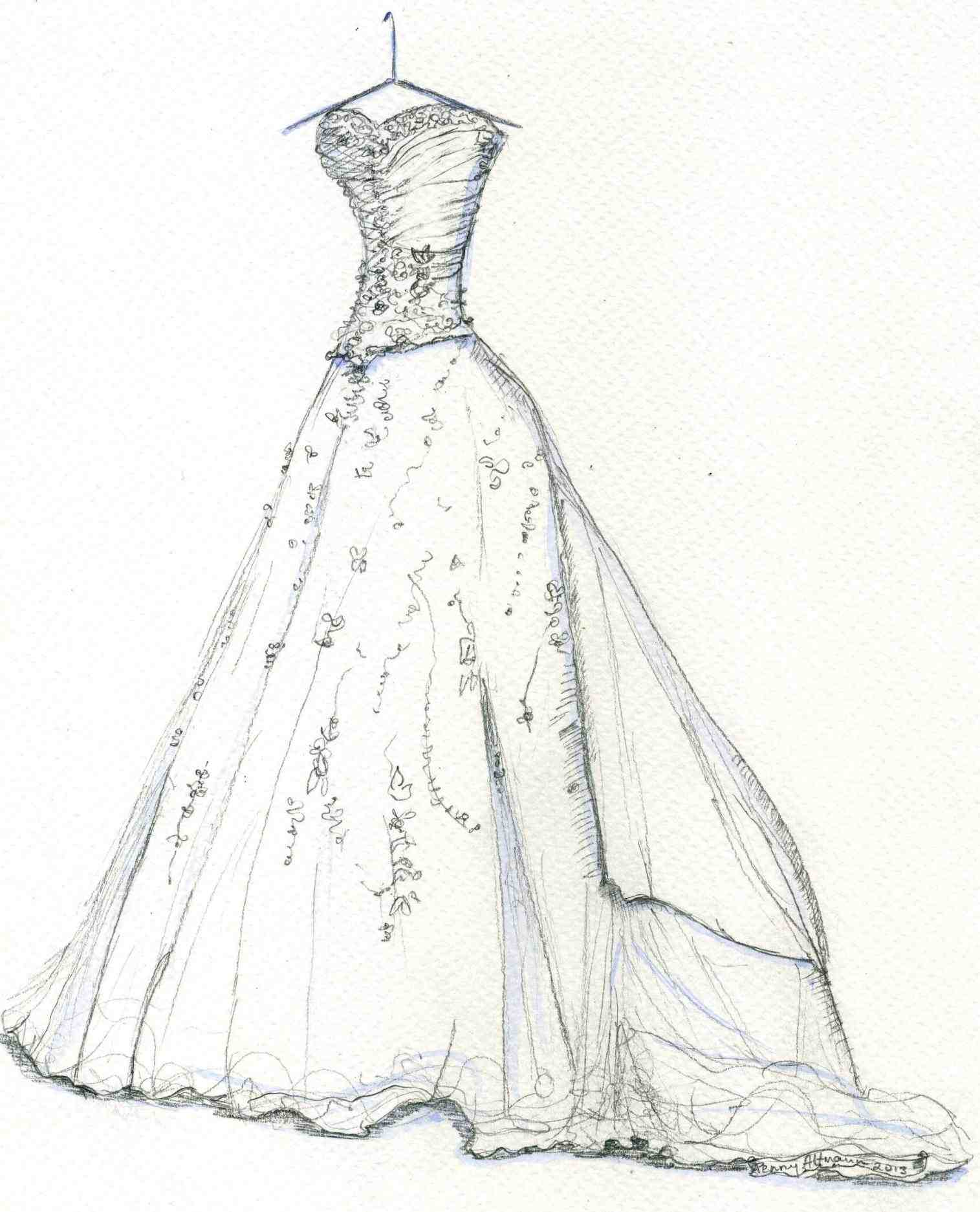 1515x1873 N Vintage Pencil And In Color N How To Draw Wedding Dress Designs