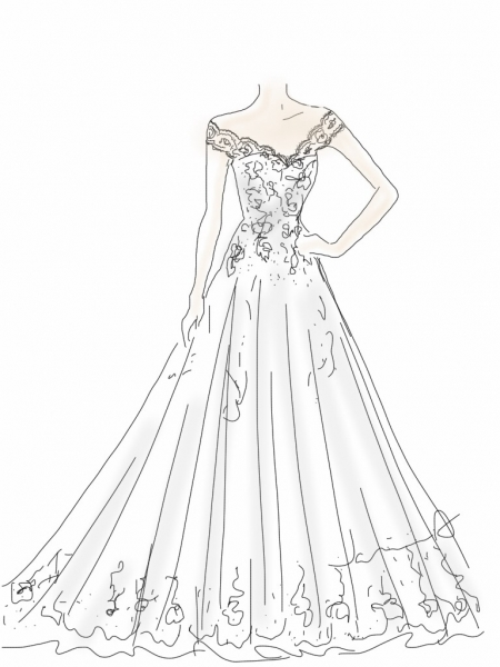 450x600 Custom Wedding Dress Sketch, Back Wedding Dress Hand Drawing