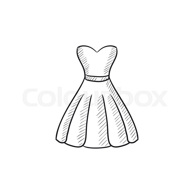 800x800 Dress Vector Sketch Icon Isolated On Background. Hand Drawn Dress