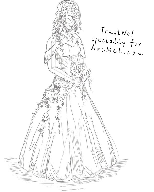 619x768 How To Draw A Bride Step By Step
