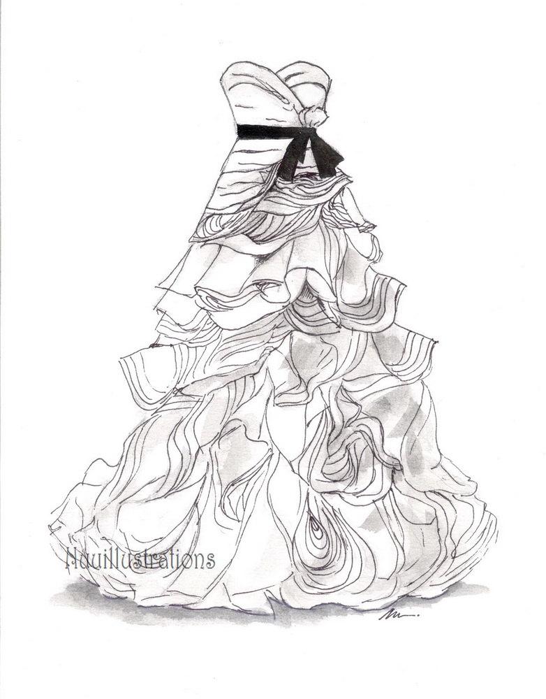 782x1000 9x12 Custom Bridal Wedding Dress Drawing Sketch Bride Wedding