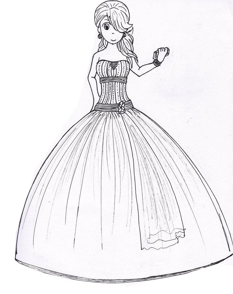 795x1004 Prom Dress Sketch By Crazycolorartist