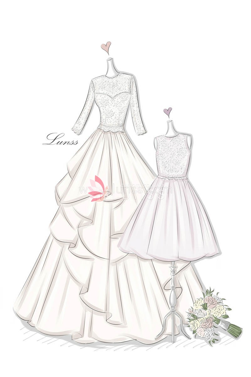 800x1200 Sketch Of Illusion Lace Appliqued Tiered Wedding Dress And Flower