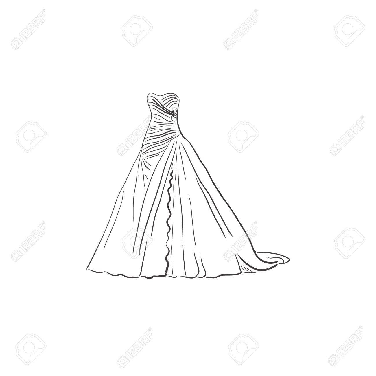 1300x1300 Wedding Dress, Sketch Design, Vector Illustration Royalty Free