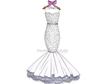 340x270 Wedding Dress Drawing Personalized First Year Paper