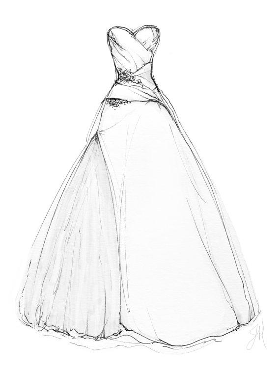 570x752 Custom Wedding Dress Illustration Portrait 8x10