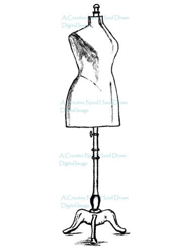 375x500 Dress Form Digital Stamp Image Meylah