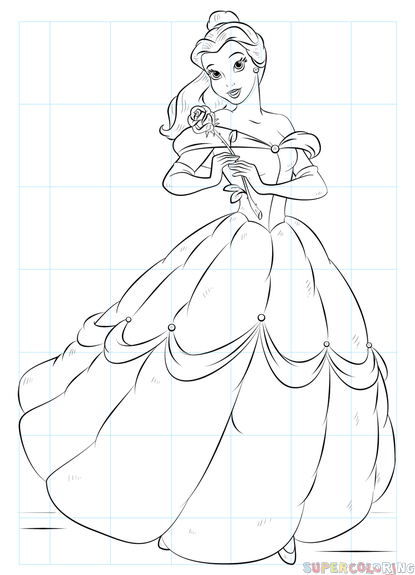 415x575 How To Draw Belle From Beauty And The Beast Step By Step Drawing