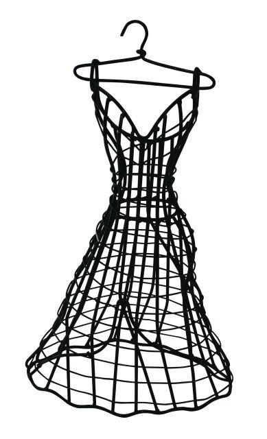 389x640 Small Black Iron Tabletop Ball Gown Dress Formjewelry Holder By