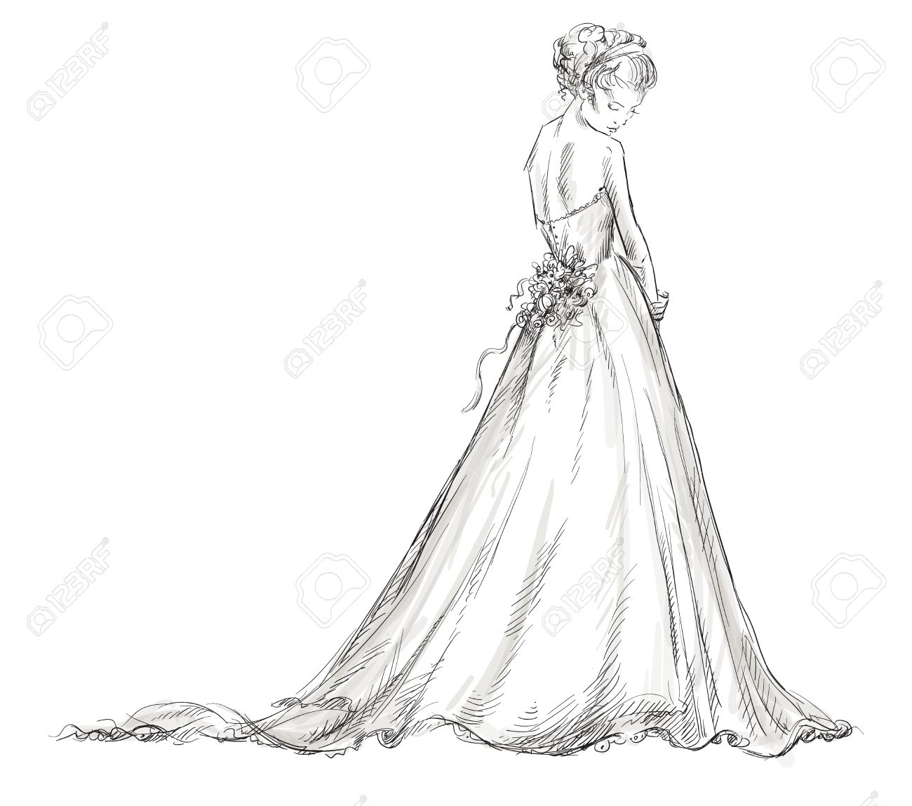 1300x1148 Bride Beautiful Young Girl In A Wedding Dress Eps 10 Vector