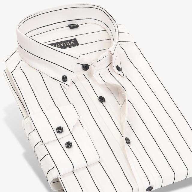 640x640 2017 Autumn Men's Contrast Black White Striped Dress Shirts 100