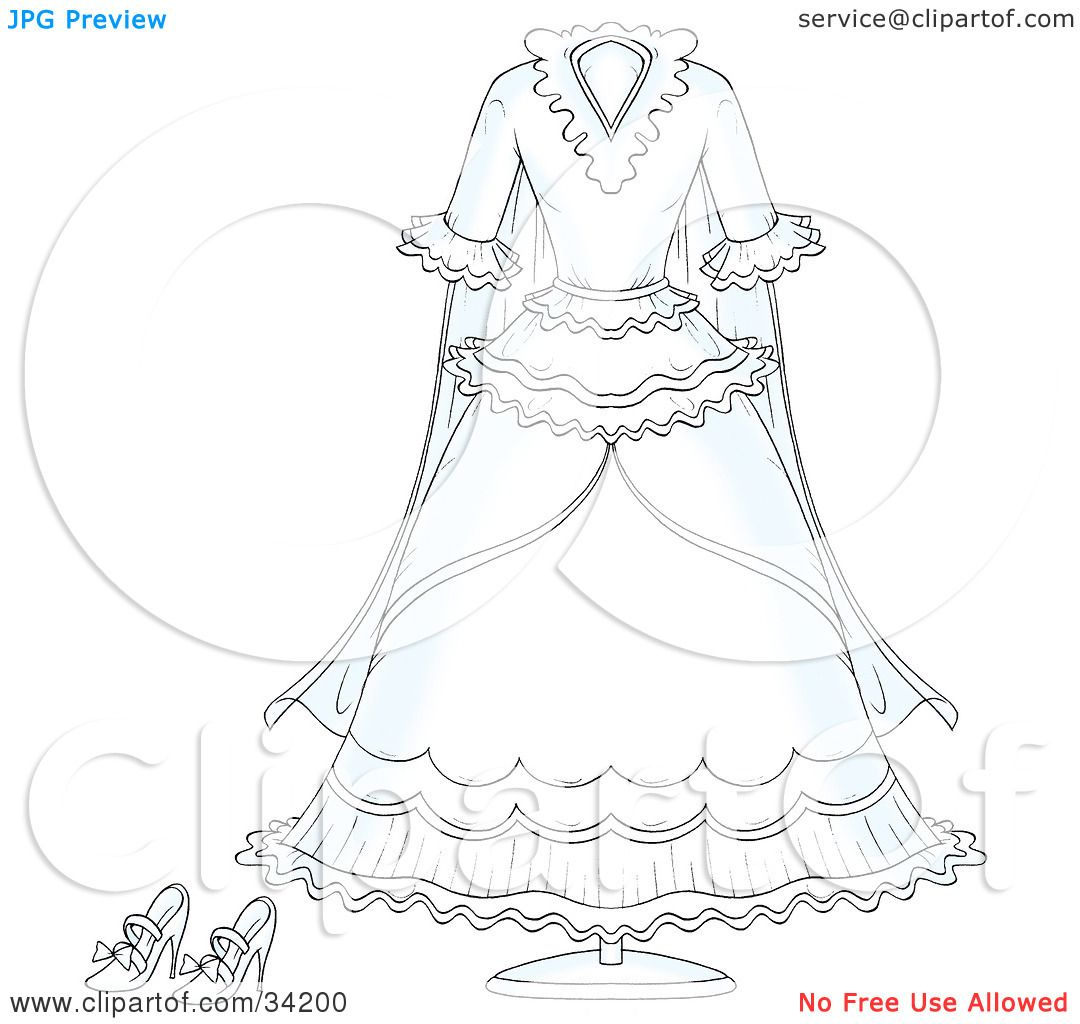 1080x1024 Clipart Illustration Of A White Bridal Gown Wedding Dress