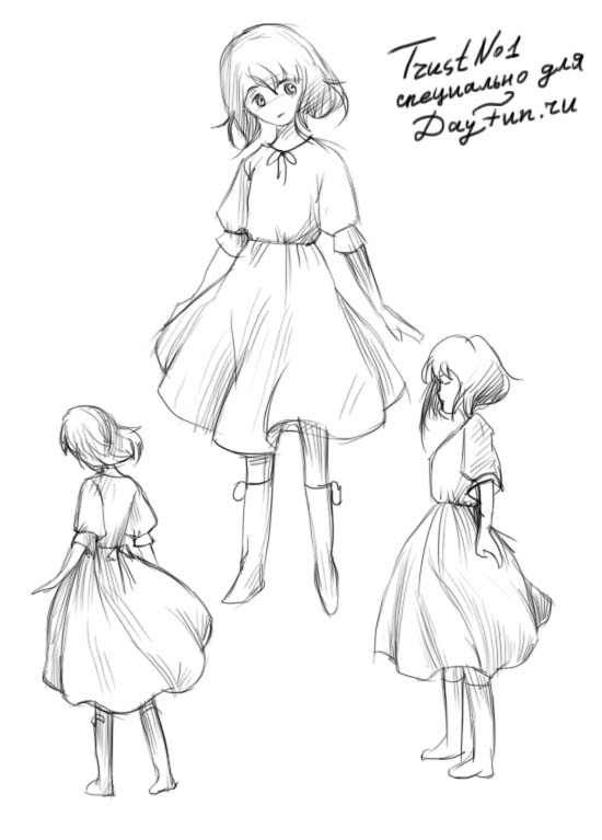 550x767 How To Draw A Girl In A Dress Step By Step