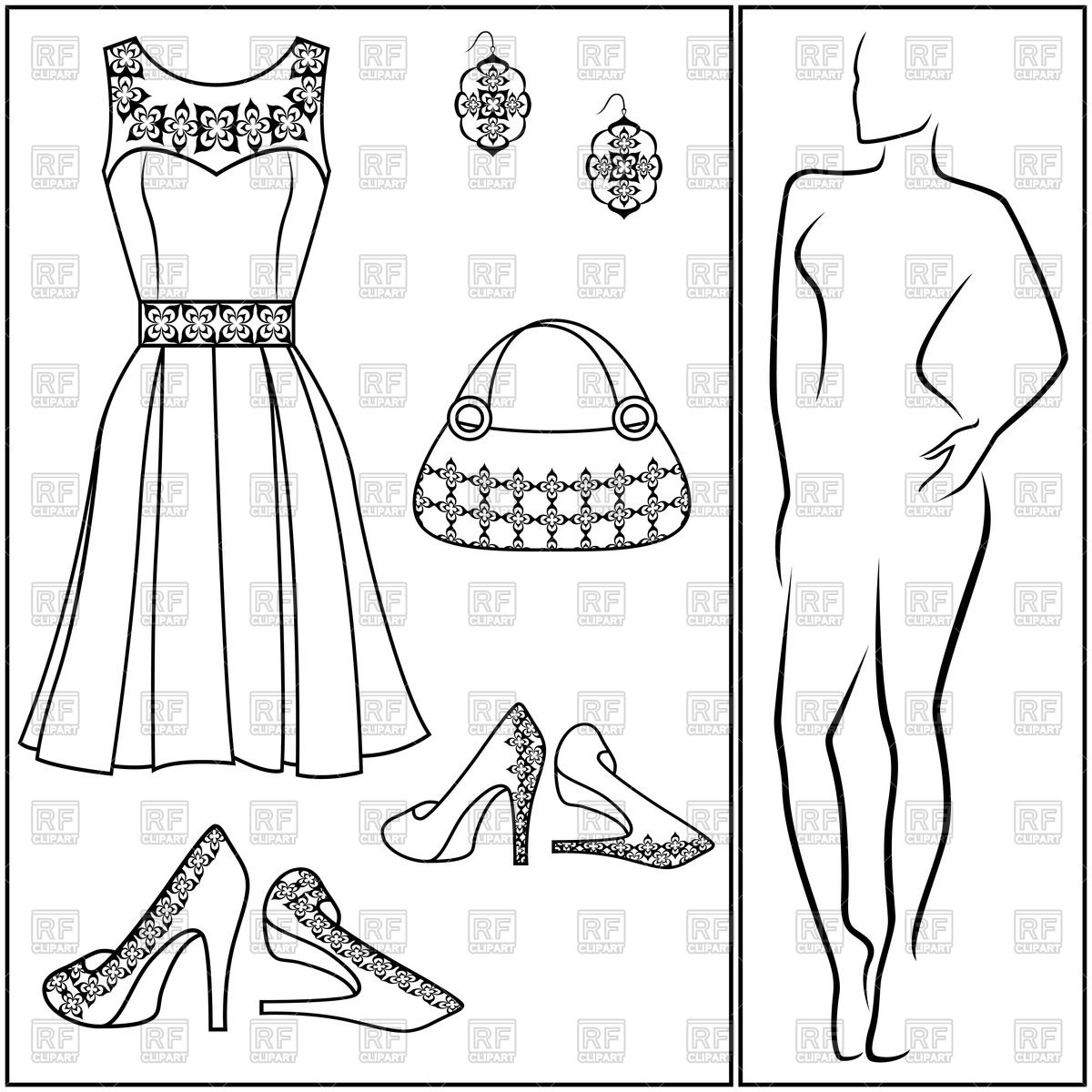 1200x1200 Accessories And Clothes Dress, Shoes, Handbag And Earring Royalty
