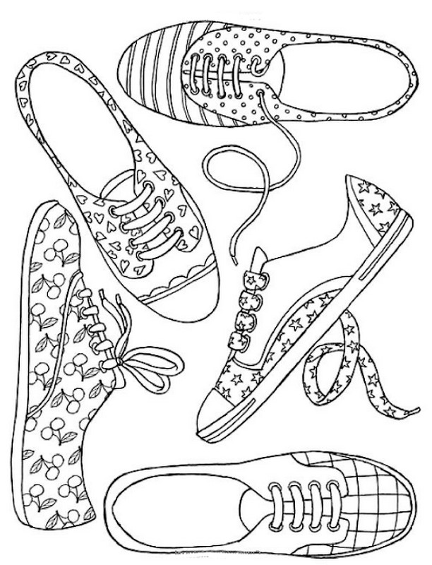 612x800 Adult Coloring Page Shoes Girl Shoes 6
