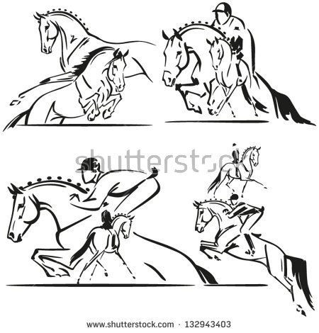 450x470 Dressage And Jumping Brush Drawing Based Illustrations Showing