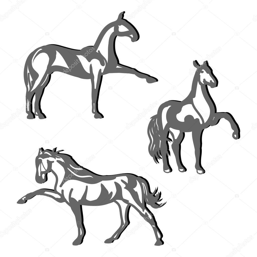 1024x1024 Dressage Horses (Set)1 Stock Vector Mila Endo