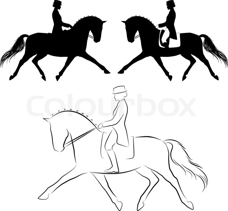 800x743 Set Of Three Variations Off Dressage Horse With Rider Performing