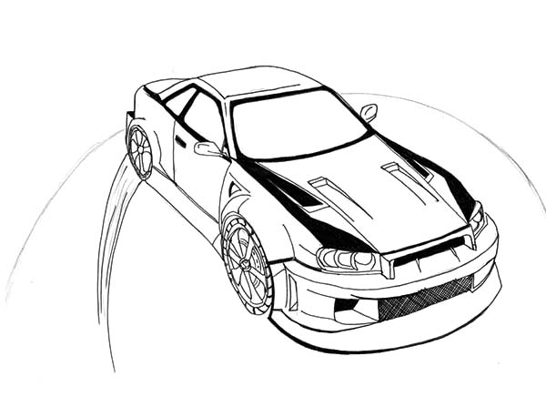 600x436 Drift Car Coloring Pages Nissan