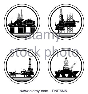 300x320 Badges With Drilling Rigs And Oil Platforms. Illustration On White