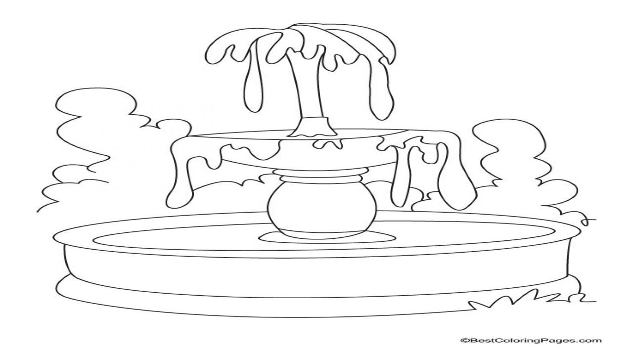 1280x720 Coloring Sheet Water Fountain School Water Fountain