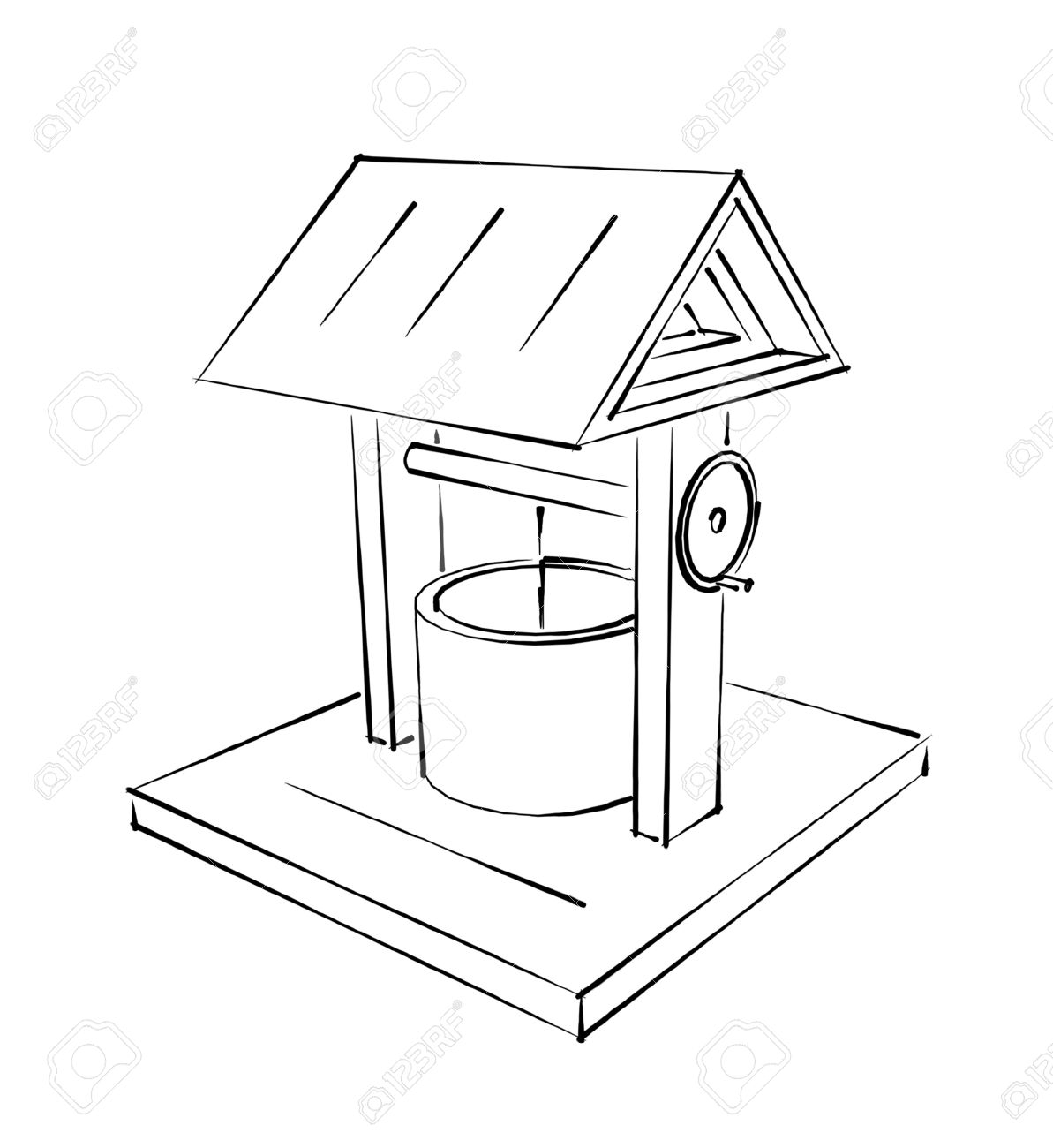 1193x1300 Drawing Of A Water Fountain Rustic Draw Well Fountain Sketch Stock