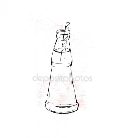 409x450 Hand Drawn Vector Graphic Kitchen Glassware Utensils Soda Drink