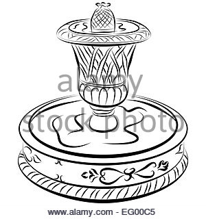 300x320 Victorian Water Fountain Line Drawing Stock Vector Art