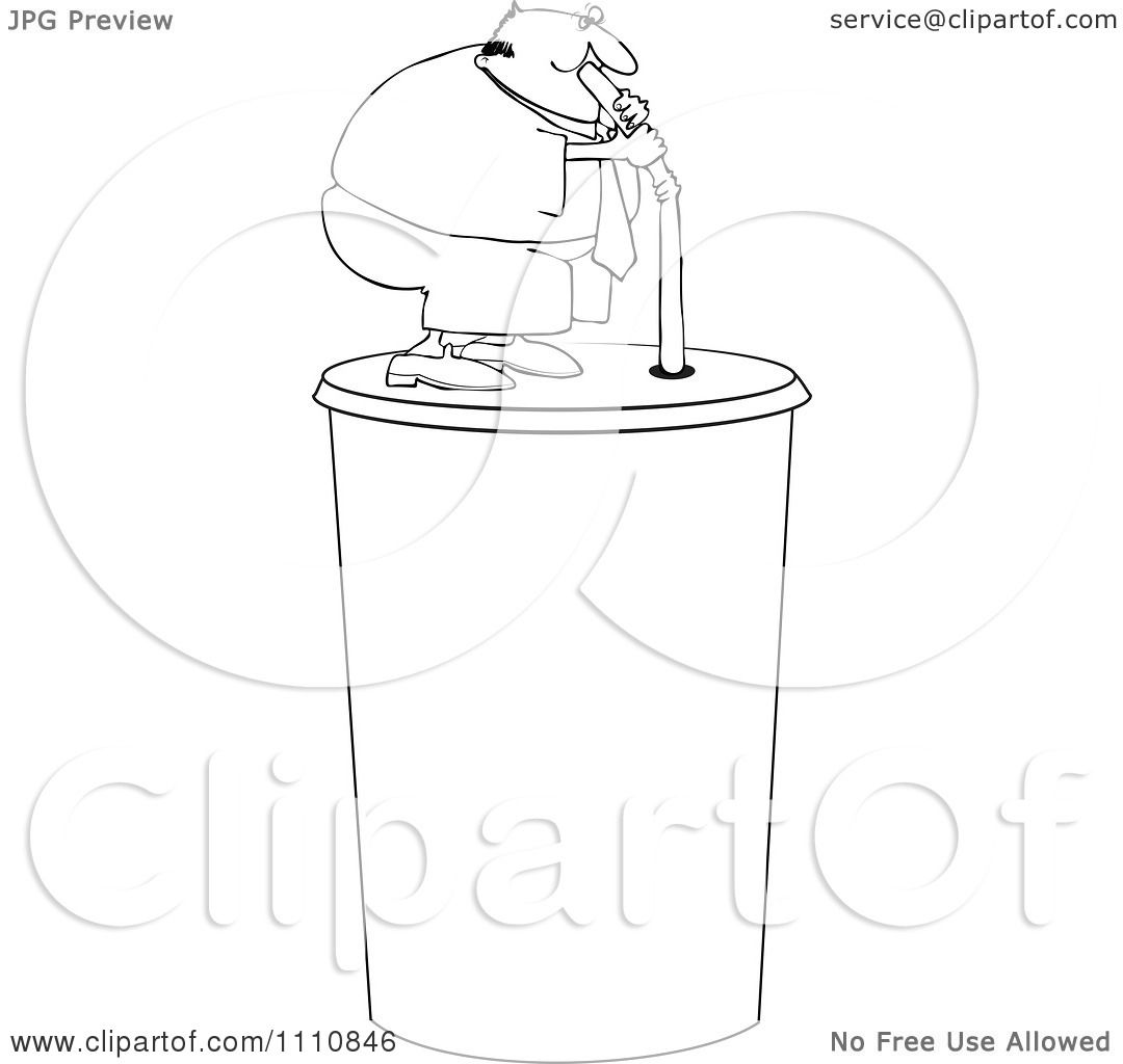 1080x1024 Clipart Outlined Chubby Man Drinking From A Straw On A Giant