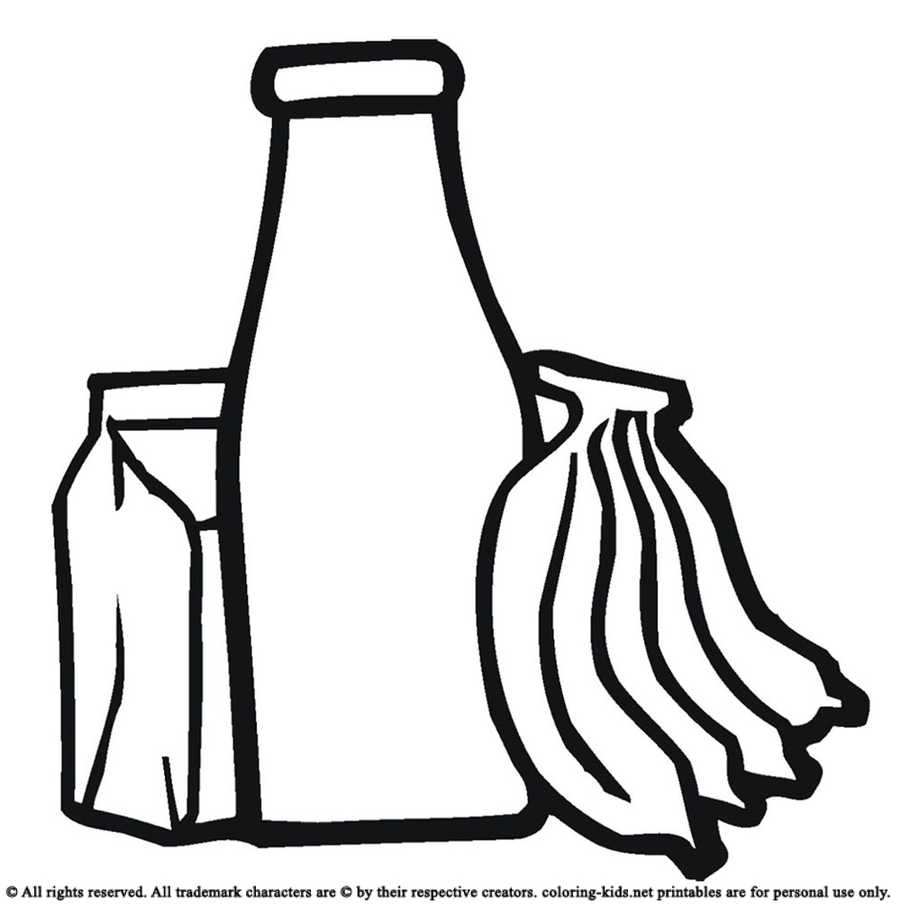 1000x1010 Drink Bottled Water And Bananas Drinks Coloring Pages