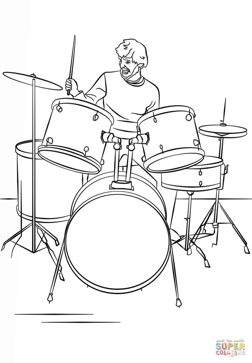 824x1186 Drawing Of A Drum Set Drum Set Player Coloring Page Free