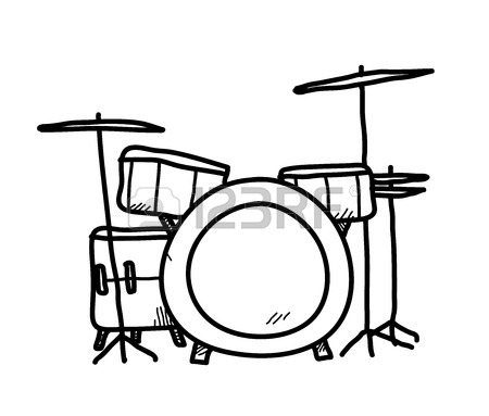 450x383 Drum Kit, A Hand Drawn Vector Illustration Of A Drum Set. Royalty