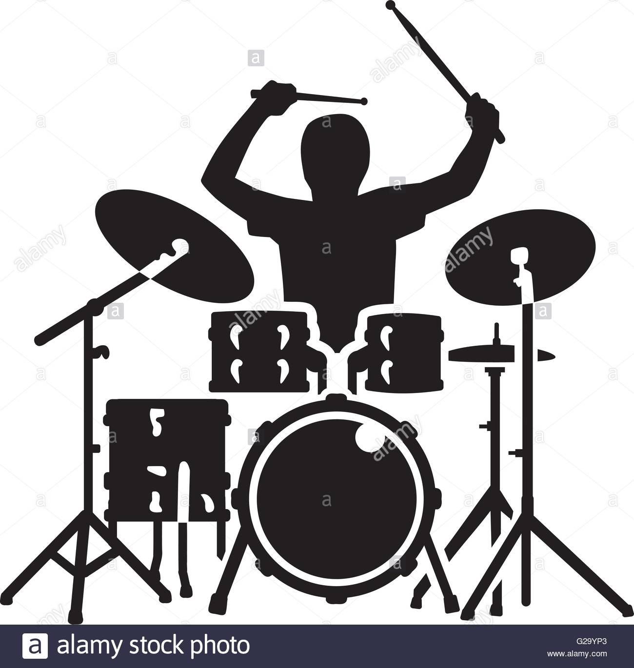 1300x1370 Drum Kit With Drummer In Action Stock Vector Art Amp Illustration