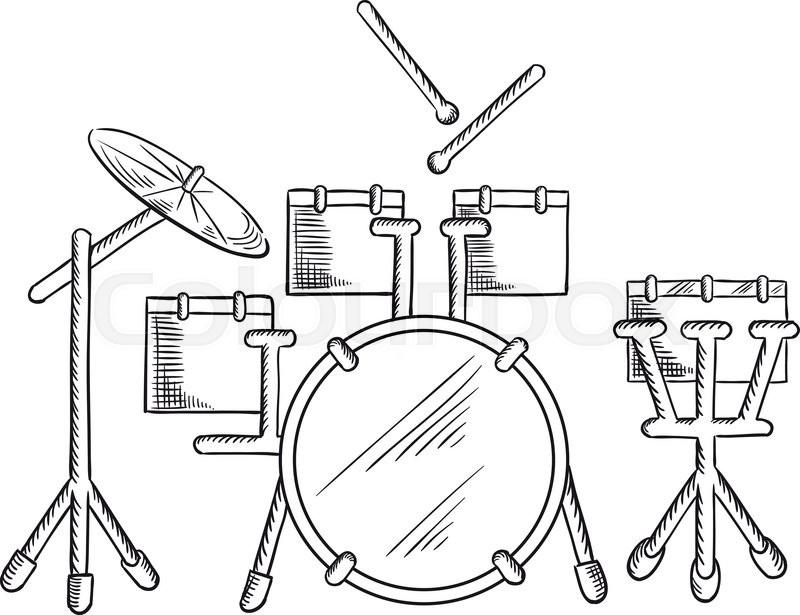 800x615 Drum Set Sketch With Traditional Kit Of Bass Drum, Two Hanging