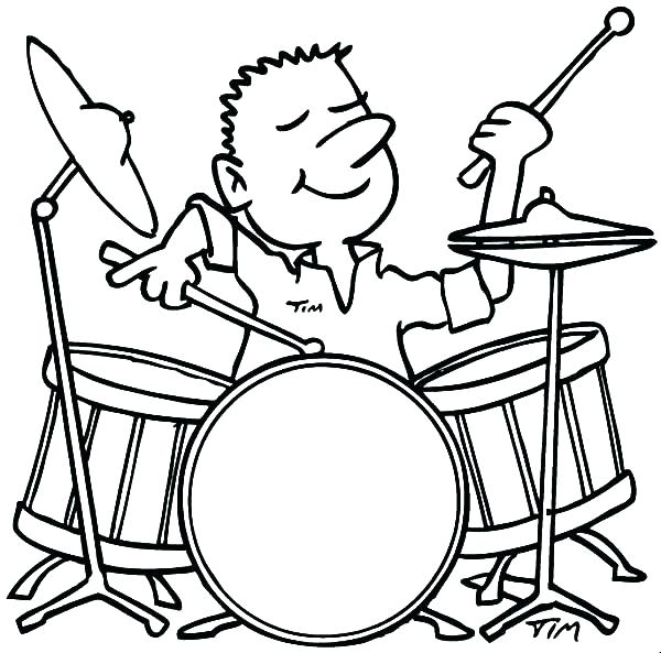 600x593 Drum Coloring Page 49 Packed With Pin Drawn Instrument Drum Set