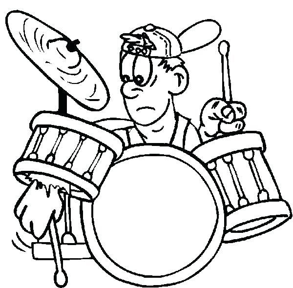 600x590 Drum Coloring Pages Drum Kit Is A Musical Instruments Coloring