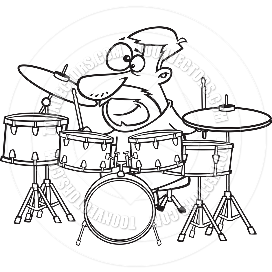 940x940 Drum Set Clipart Black And White