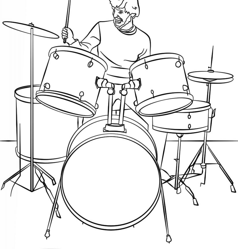 824x864 Drum Set Coloring Book Page Drum Set Outline