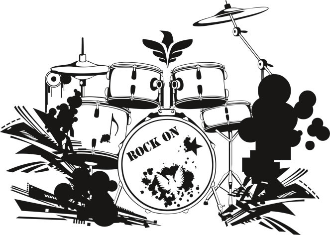 663x472 Drum Set Wall Decal Decor