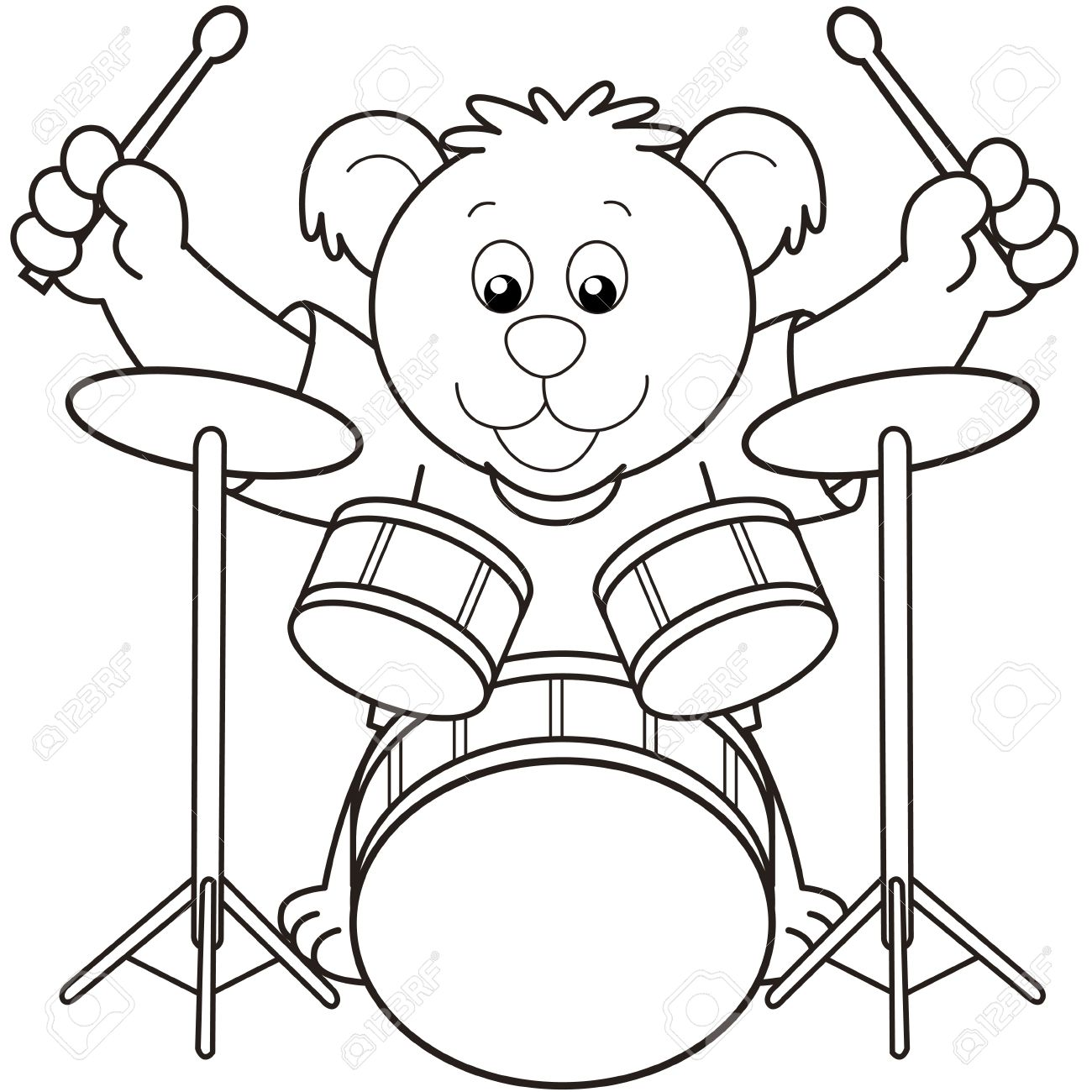 1300x1300 Playing Drum Set Clipart