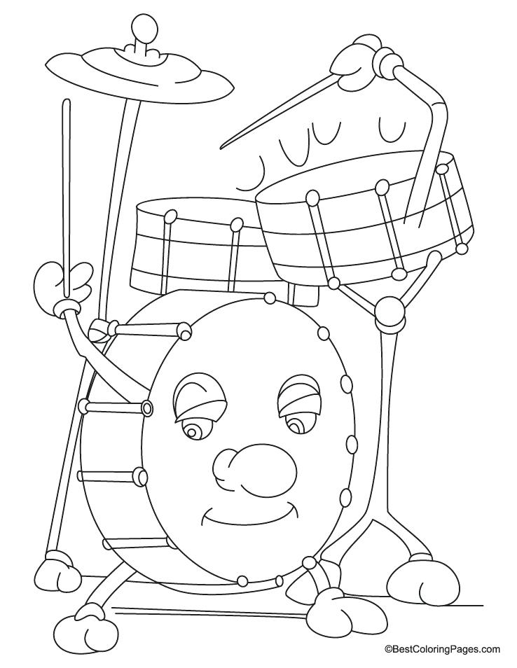 738x954 Drum Coloring Page